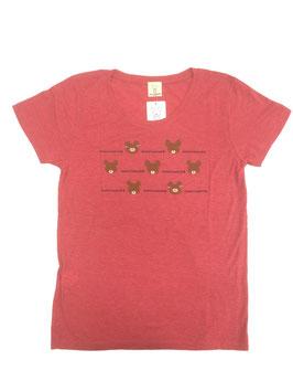 くまのがっこう 半袖レディースTシャツ カオ2