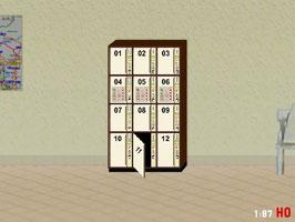 MODELLLAND H0 DDR Gepäckschließfach Schließfach mit offener Tür - 2115-8