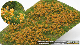 Welberg - Gras mit orangen Blüten, 2-4 mm, 15x21cm (PO242) (H0)