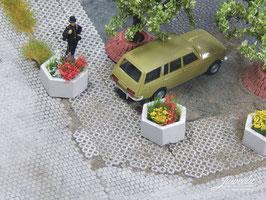 JUWEELA H0 Pflanzkübel aus Beton, 6-eckig, 5 Stück (28254)