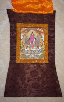 Thangka Gautama Buddha sehr fein gearbeitet in Brauntönen, braune Umrandung