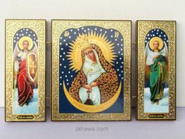 Klappikone der Barmherzigen Muttergottes mit Erzengel Michael und Gabriel