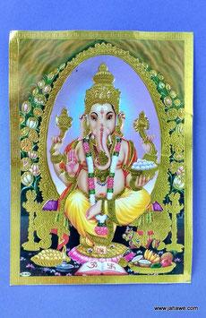 Geprägtes Bild mit Golddruck  Ganesha , der Gott der die Hindernisse befreit   13.x 18 cm