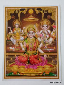 Geprägtes Bild mit Golddruck  Maha Lakshmi mit Ganesha und Parvati  22,5 x 29 cm laminiert