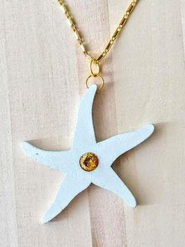 Holzanhänger Pentagramm mit gelbem Zirkonia ca 6,5 cm