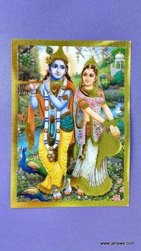 Geprägtes Bild mit Golddruck  Krishna und Lakshmi  13.x 18 cm