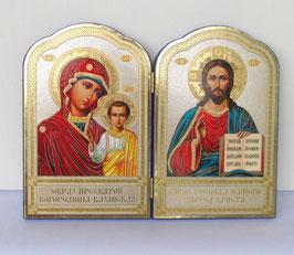 Echte Russische Klapp Ikone zur Mutter Gottes mit Kind und zu Jesus Christus. Der Rand ist mit blauem Samt eingerahmt