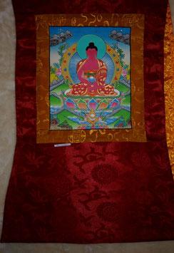 Thangka Gautama Buddha, Shakjamuni Bild in Grün mit roter Umrandung