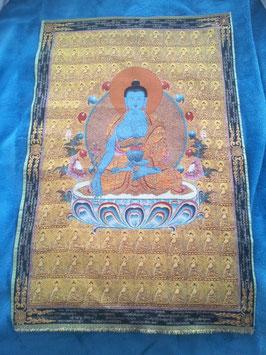 gewebtes Buddhabild Tangka mot Goldfaden gewebt