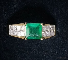 echter Harry Ivens Ring  1 Smaragd und 16 Diamanten Princessscut in Gelbgold 585 Gr 18
