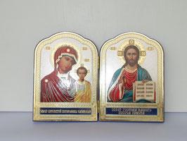 ProduktnameEchte Russische Klapp Ikone zur Mutter Gottes mit Kind und zu Jesus Christus. Der Rand ist mit blauem Samt eingerahmt