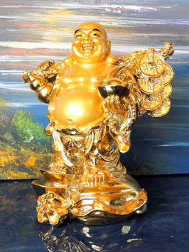 Vergoldete Buddafigir- der lachende Buddha