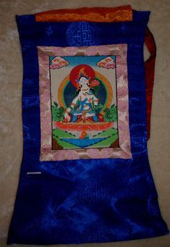 Thangka weiße Tara Grüntöne  und blaue Umrandung