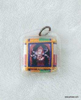 weisser Mahalkala, tibetisches Schutzamulett für Geld und Reichtum.