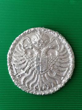 Abguss alte Medaillie Doppeladler 14 cm Durchmesser echt mit Blattsilber versilbert.