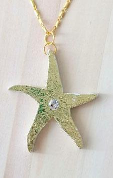 Pentagramm aus Holz mit Goldfolie und weissem Zirkonia