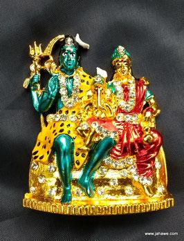 Shiva Ganesha und Durga Muthi  ca 8 cm hoch aus hochglänzendem Messing mit wunderschöner Bemalung