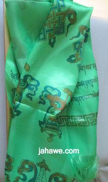 Schal mit buddhistsichen Symbolen.