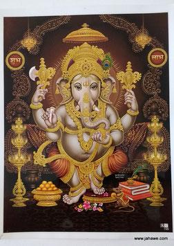 Geprägtes Bild mit Golddruck  Ganesha  laminiert 22,5 cm x 29 cm   mit Goldglitter