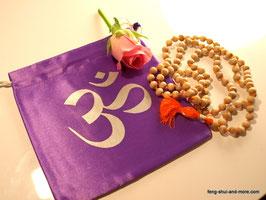 Echte Mala aus heiligem Tulsiholz, 108 Perlen + 1 Guruperle, orangeband