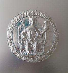 Keramikguss mit echt Silber versilbert,. alte Medaillie König auf Thron, Abguss