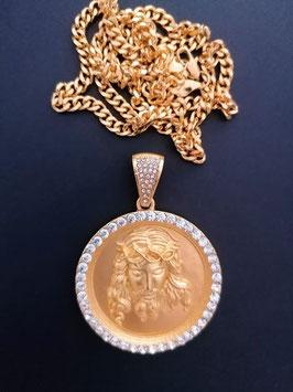 Jesus Christus Medaillie  goldfarben mit Kristallen  die Medaillie und die Kette