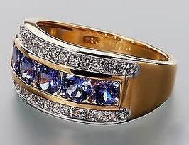 Harry Ivens  Ring Silber 925 vergoldet mit Tansaniten AA und  Weisstopasen !!!