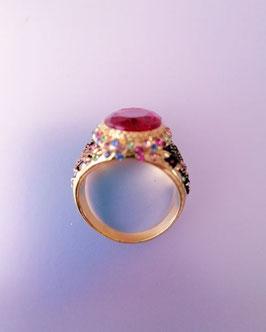 Ring Messing vergoldet mit Glassteinen, Zirkoniasteinen. Grösse 22