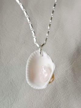 Muschelanhänger mit Bergkristall 1,3 cm der Steim, 3,5 cm länge.