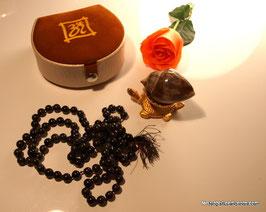 Original Heera Shank Rarität mit Achat-Mala schwarz 108 Perlen