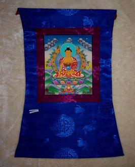 Thangka Gautama Buddha, Shakjamuni Grüntönein Blauumrandung