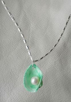 Muschelanhänger mit echter Zuchtperle grünes gehäuse Perle weiss. ohne Kette Nr.2