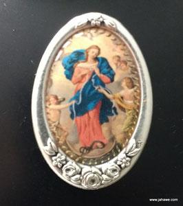 Mutter Gottes die Knotenlöserin. Plakette aus Metall mit wunderschönem Rosendekor  4,2 x 2.8 cm