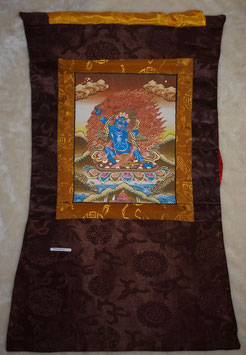 Tanka Vadshrapani Bild in braun roter Farbe und brauner Umrandung,Goldumrandung des Bildes