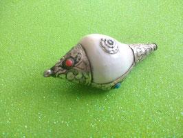 kleine  Schneckengehäuse aus Tibet  7 cm x 3,2 cm mit Rose.