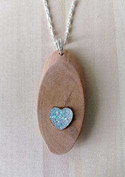 Holzanhänger mit Herz weiss glitzernd  Nr.3 ohne Kette , länge 7 cm