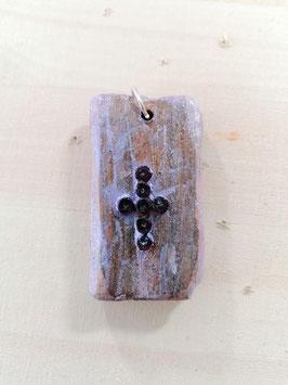 Holzschmuck mit echten Amethysten in Kreuzform5,5 x 2,8 cm