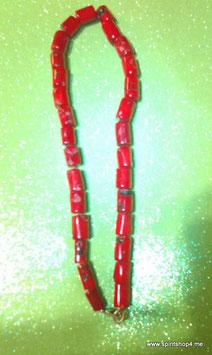echte rote Koralle als Collier  mit Carabinerhaken aus Edelstahl