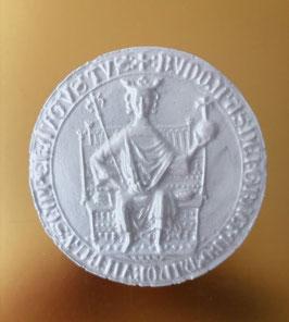 Keramikguss mit Silberfarbe. alte Medaillie König auf Thron