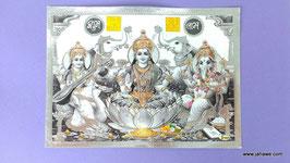 Geprägtes Bild mit Golddruck  Maha Lakshmi mit Elefanten.  13.x 18 cm