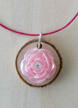 Herz mit Birkenholz rund und Diamantzirkonia Rosa