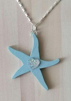 Holzanhänger 5 Stern , Pentagram blau mit Glitzerherz