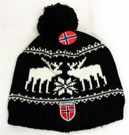 Norges kolleksjon, strikkelue, Deer, sort