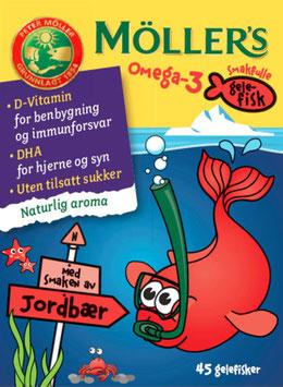 MØLLERS GELEFISK OMEGA-3 JORDBÆR 45STK