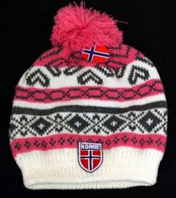 Norges kolleksjon, strikkelue, Alaska, rosa