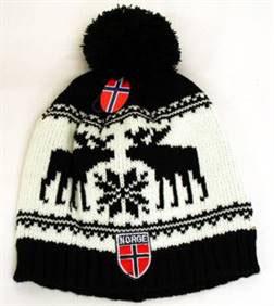 Norges kolleksjon, strikkelue, Deer, hvit