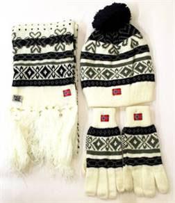 Norges kolleksjon, strikkelue, Alaska sett, sort Set