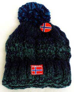 Norges kolleksjon, strikkelue, Ål blå