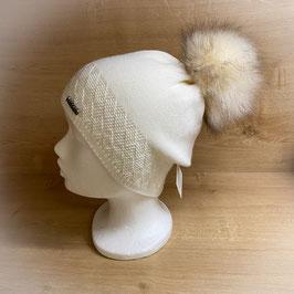 Mütze mit Bommel creme HB40005
