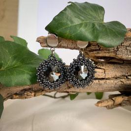 Glitzernde Kristall Ohrringe im Vintage-Style, schwarz